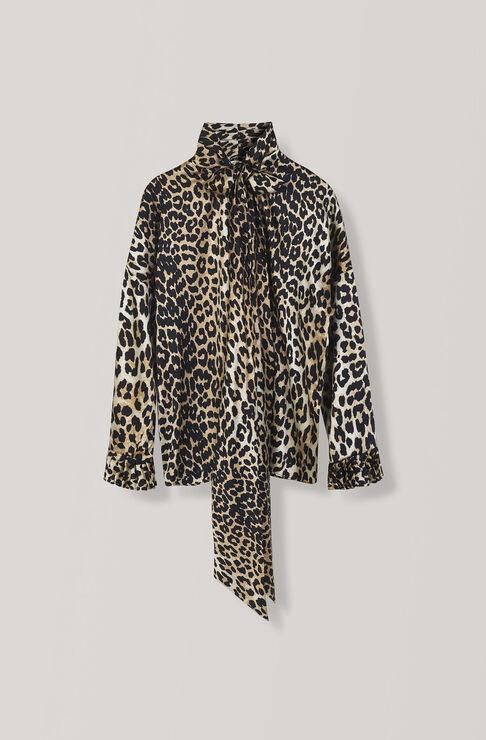 Calla Silk Blouse, Leopard, hi-res