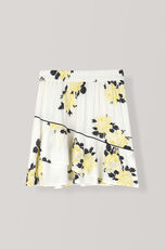 Silvery Crepe Mini Skirt, Vanilla Ice, hi-res