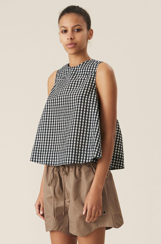 가니 시어서커 민소매탑 Ganni Monochrome Checkered Seersucker Sleeveless Top,Black