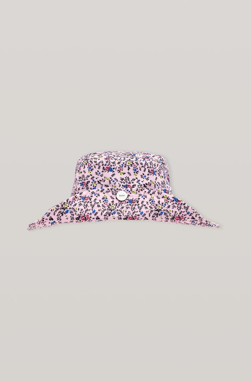 가니 썬햇 Ganni Recycled Tech Fabric Snap Sun Hat,Pink Nectar