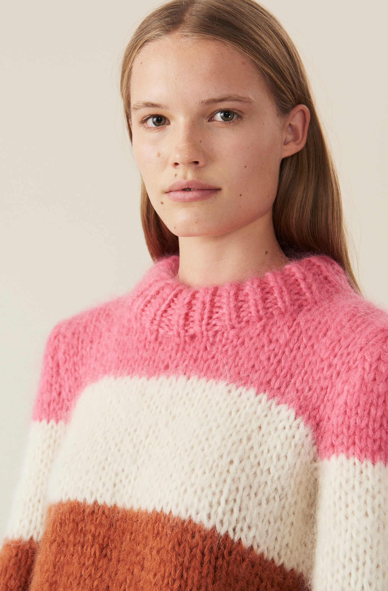 Hand Knit Wool Puff Pullover, Block Colour, hi-res