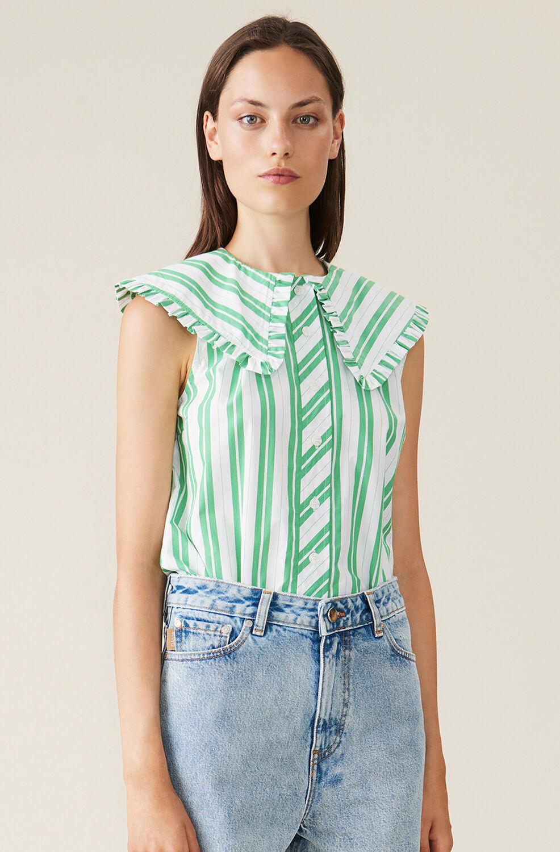 가니 셔츠 Ganni Stripe Cotton Sleeveless Shirt,Kelly Green