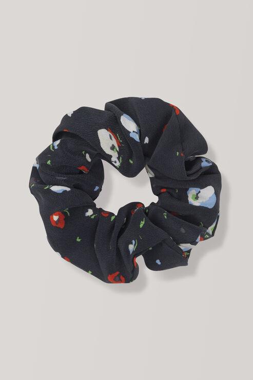 Nolana Silk Scrunchie, Black, hi-res