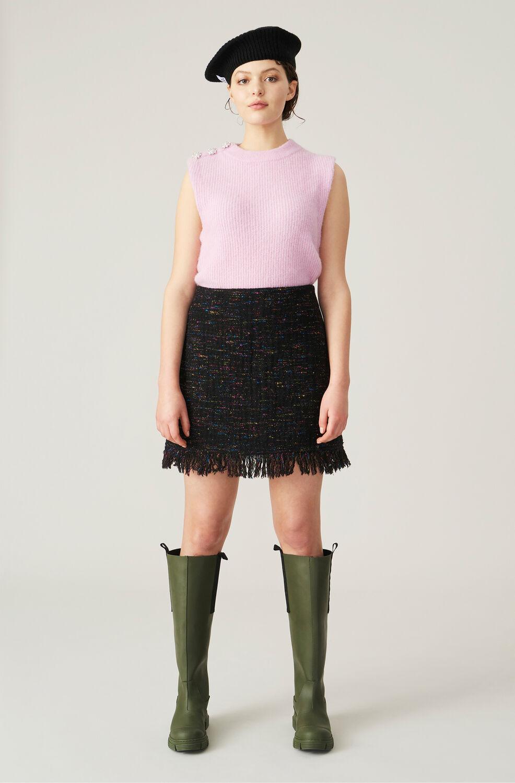가니 프린지 미니 스커트 Ganni Recycled Wool Fringe Mini Skirt,Black