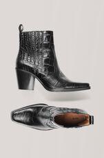 Western Ankle Boots, Black, hi-res