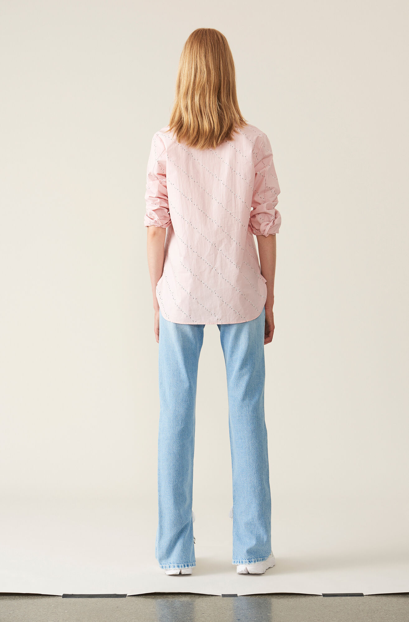 Printed Poplin Skjorte, Silver Pink, hi-res