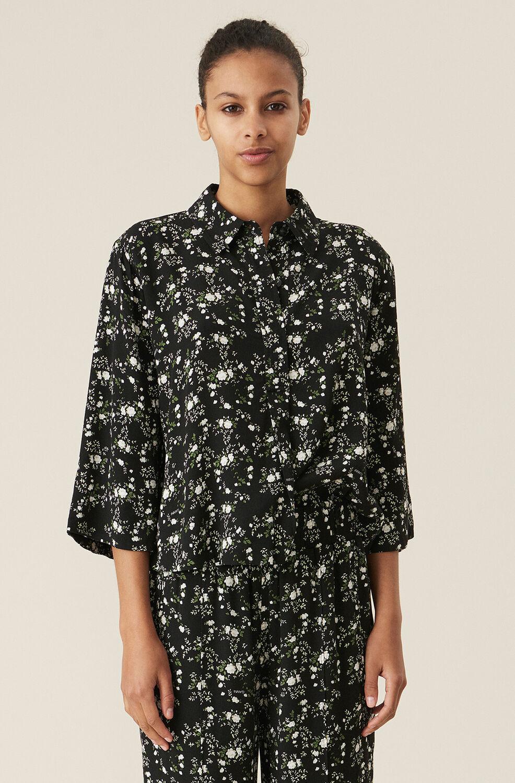 가니 셔츠 Ganni Black Floral Crepe Shirt,Phantom