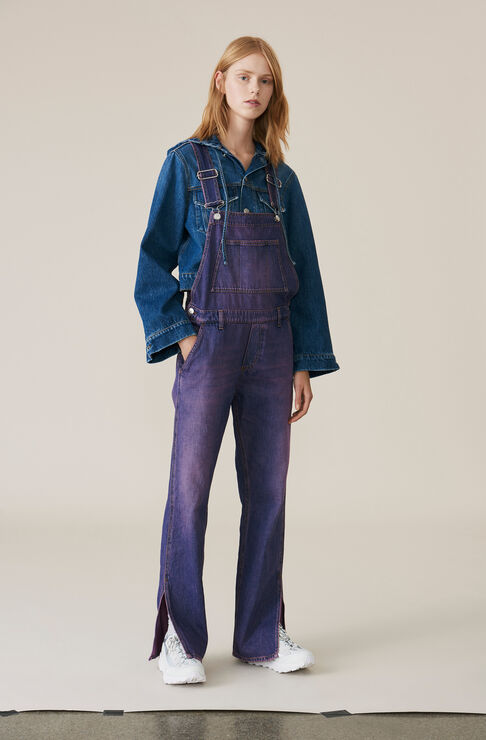 Denim Dungaree, Hot Pink On Blue, hi-res