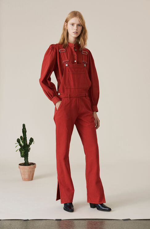 Denim Dungarees, Fiery Red Overdye, hi-res