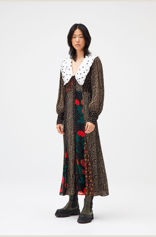 가니 패치워크 원피스 Ganni Patchwork Georgette Collar Midi Dress,Multicolour