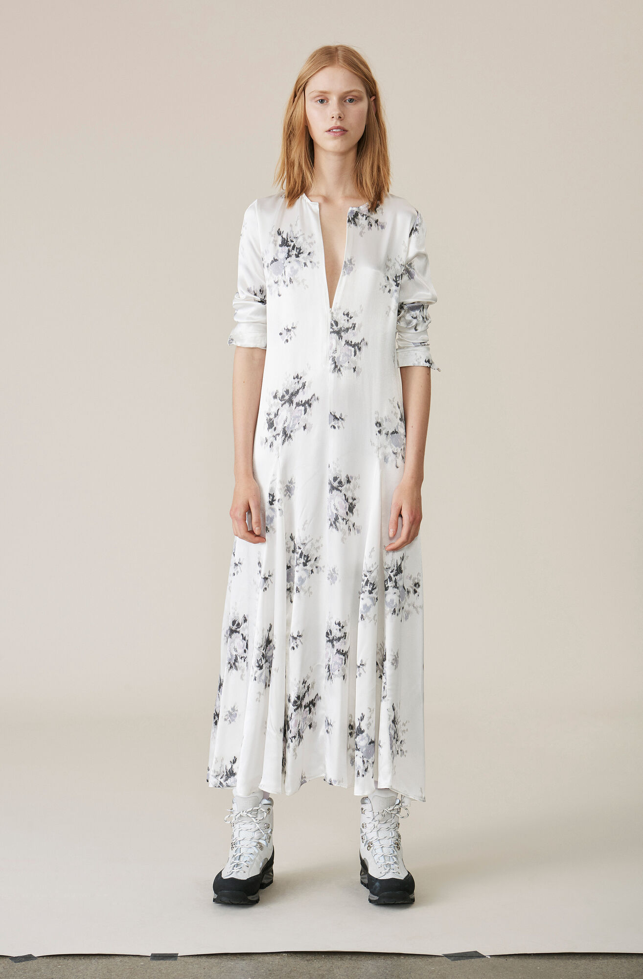 Heavy Satin Maxi Dress, Egret, hi-res