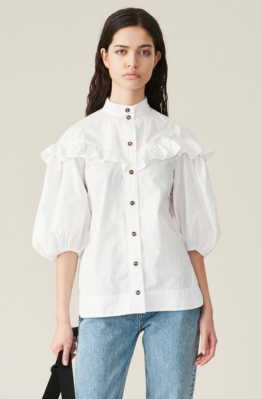 가니 셔츠 Ganni Cotton Poplin Frill Shirt,Bright White