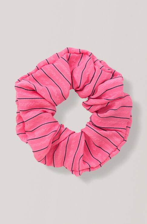 Lynch Seersucker Scrunchie, Hot Pink, hi-res
