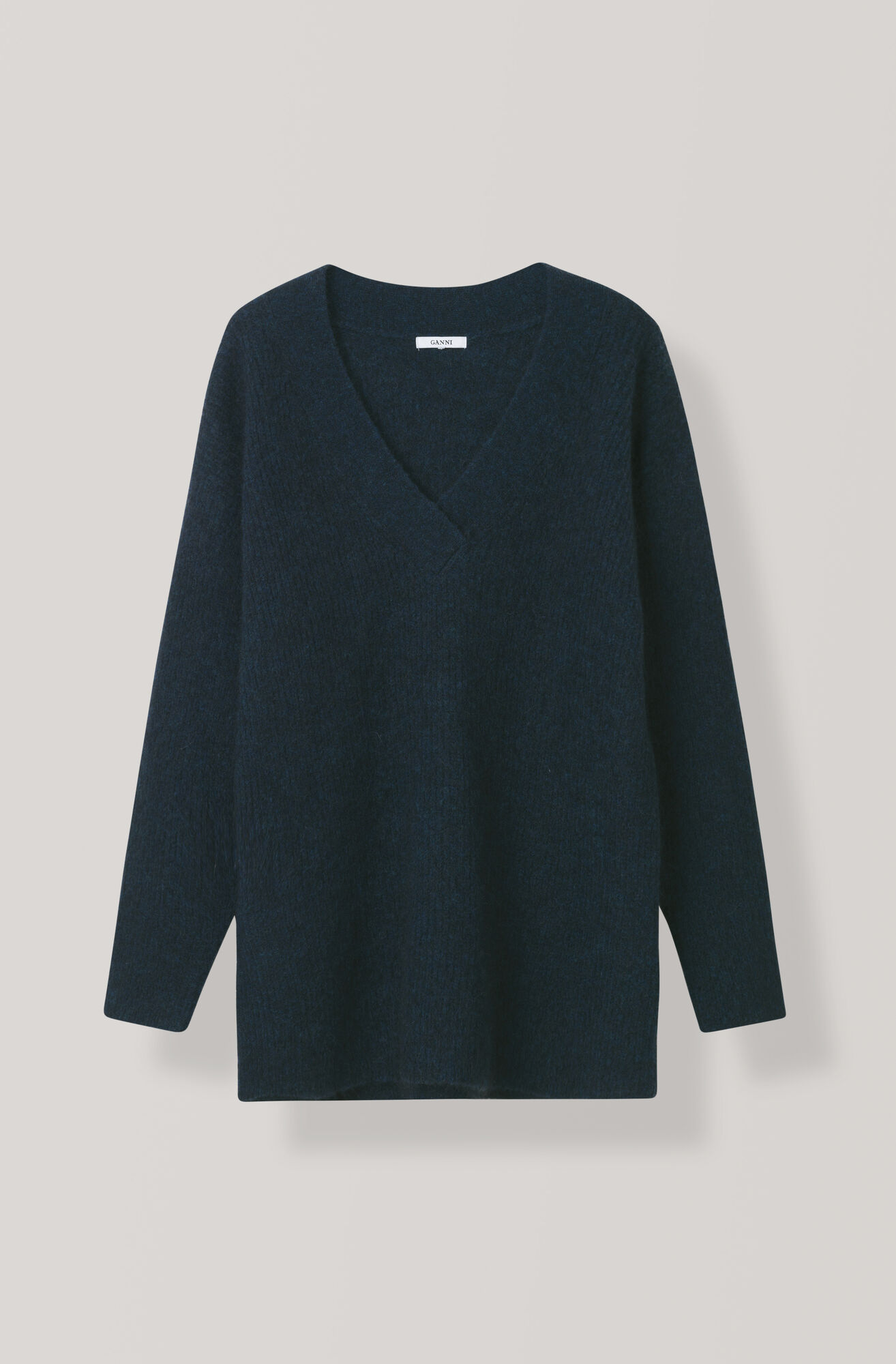 Soft Wool Knit V-neck Pullover, Total Eclipse, hi-res