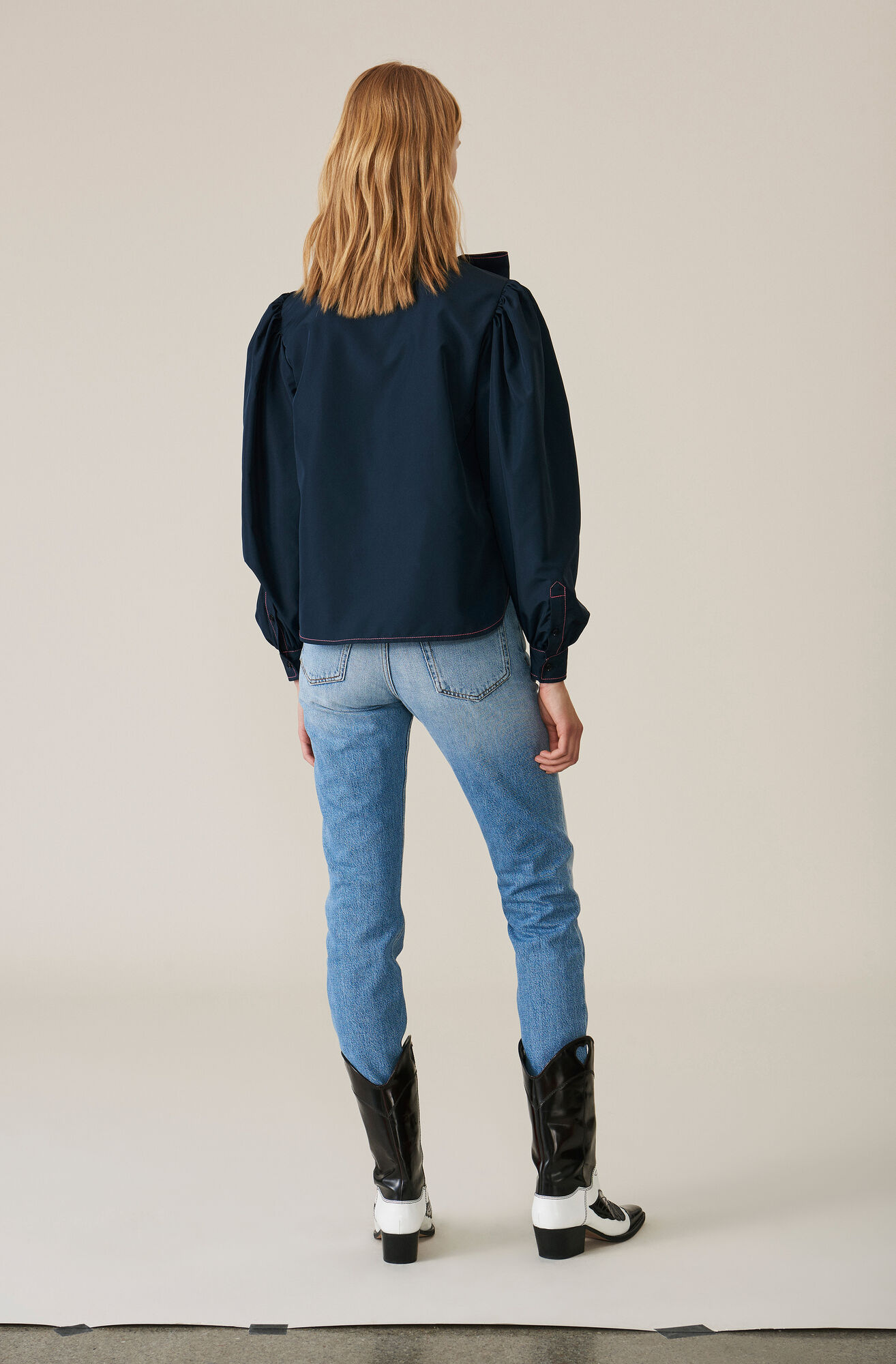 Denim Slit Pants, Light Denim, hi-res