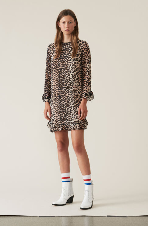 Printed Georgette Mini Dress, Leopard, hi-res