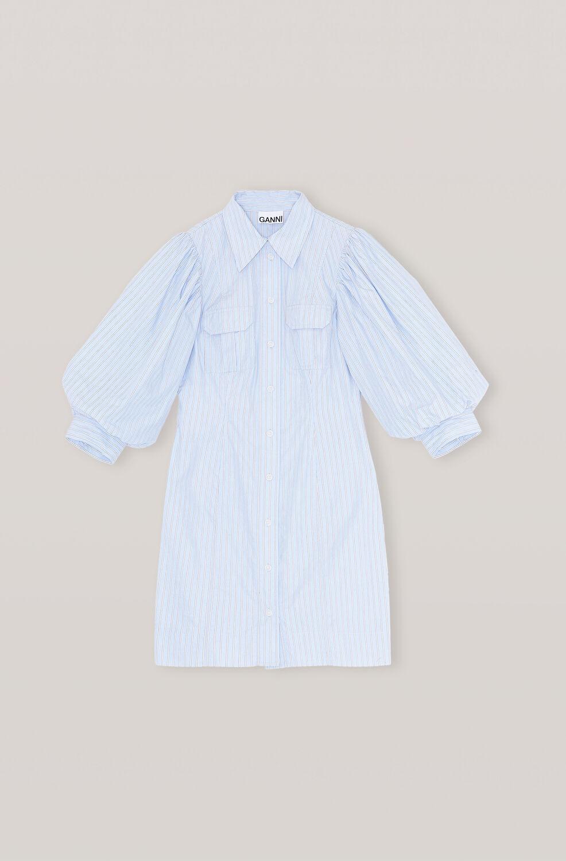 Stripe Cotton Mini Dress, Brunnera Blue, packshots