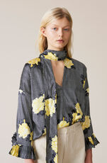 Calla Silk Blouse, Black, hi-res