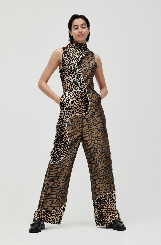 가니 점프수트 Ganni Patchwork Jumpsuit,Leopard