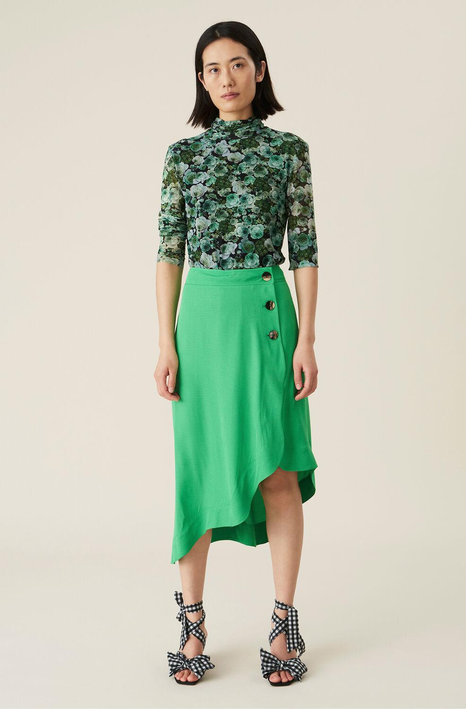 Ganni Green Ripstop Asymmetrical Midi Skirt,Kelly Green