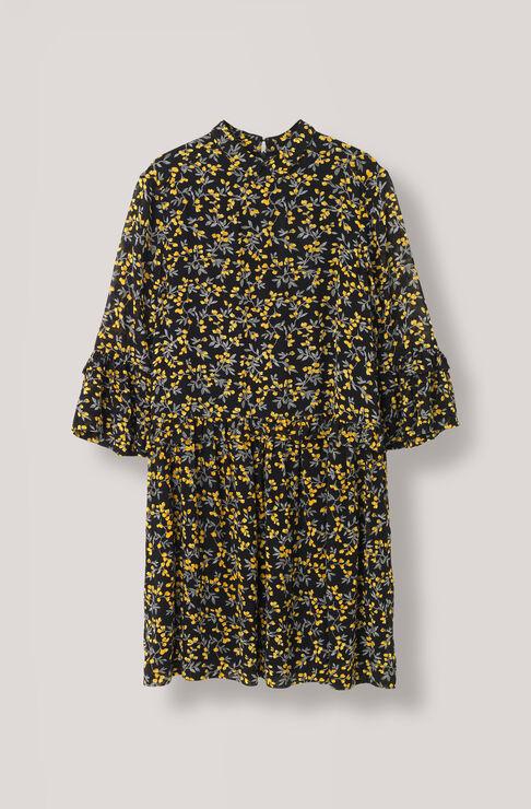 Marceau Georgette Mini Dress, Black, hi-res