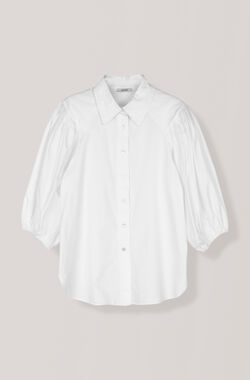 Plain Cotton Poplin Shirt, Bright White, hi-res