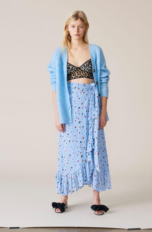 Dainty Georgette Wrap Skirt, Serenity Blue, hi-res