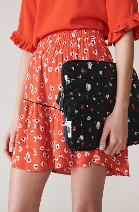 Silvery Crepe Mini Skirt, Big Apple Red, hi-res
