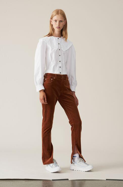 Stretch Corduroy Slit Pants, Caramel Café, hi-res