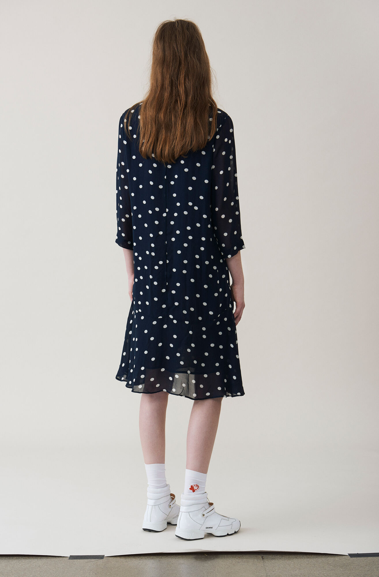 Marceau Georgette Dress, Total Eclipse, hi-res