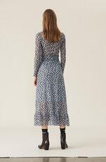 Printed Mesh Wrap Skirt, Serenity Blue, hi-res