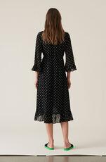 Merton Georgette Wrap Dress, Black, hi-res