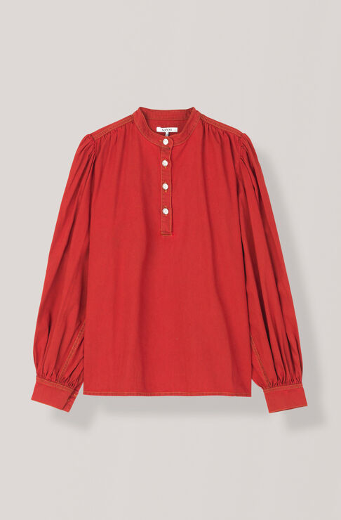 Soft Denim Blouse, Fiery Red Overdye, hi-res