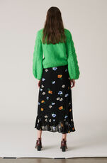 Dainty Georgette Wrap Skirt, Black, hi-res
