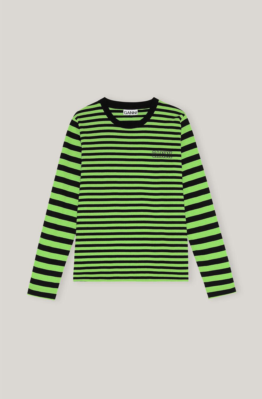 가니 티셔츠  Ganni Thin Software Striped Jersey O-neck Long Sleeve T-shirt, Thin Stripe,Flash Green