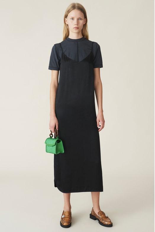 girl wearing satin midi dress